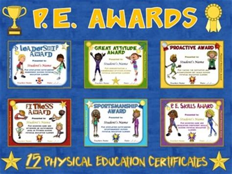 physical education certificates samweiss pe awards 15 physical education certificates by cap n
