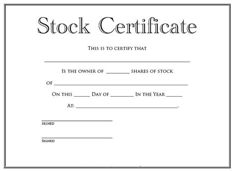 21 stock certificate templates free sle exle