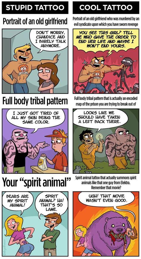 tribal tattoos jokes college humor stupid vs cool tattoos comics