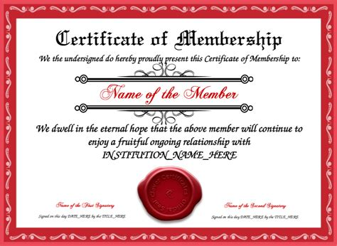 membership certificates templates certificate of membership template