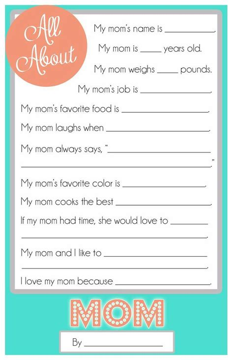 printable grandma questionnaire mother s day questionnaire a free printable for the kids