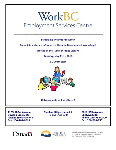Library Resume Workshop resume workshop may 11th 11am by work bc tumbler ridge