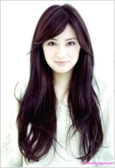 long hair cuts withfeather back sides and bangs korean haircut for girls with side bangs