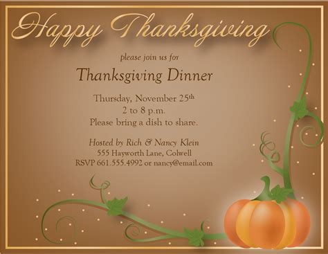 thanksgiving templates happy thanksgiving invitation
