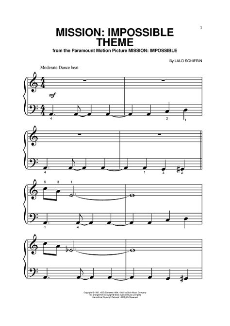 theme music of mission impossible mission impossible theme sheet music for piano and more