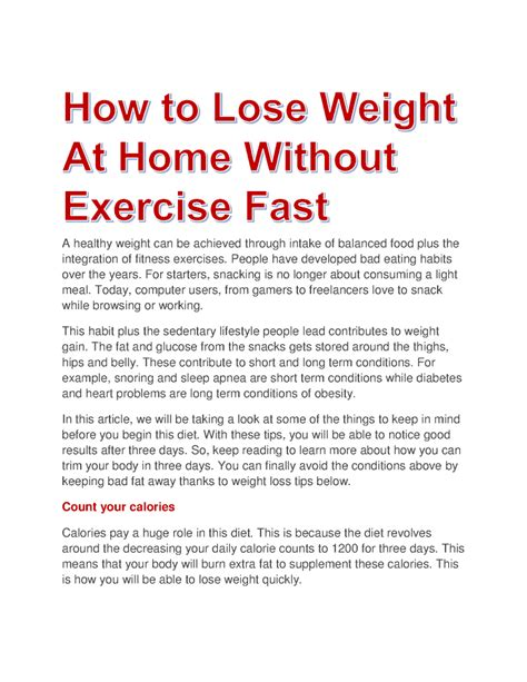 how to lose weight without exercise fast at home 4k