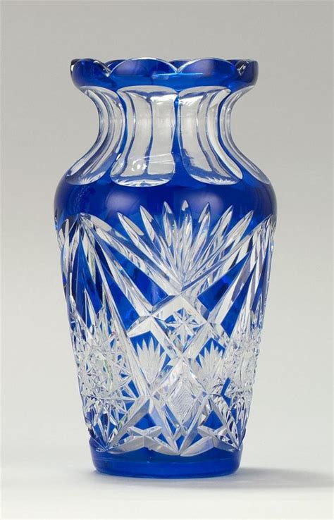 cut overlay glass vase in cobalt blue cut to clear with hobs