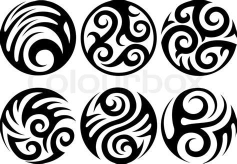 round tattoo style design elements vector illustration
