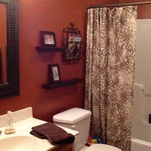 Curtains With Orange Walls Burnt Orange Bathroom I Wanted To Do This Color With My Shower Curtain Which Is The Same One