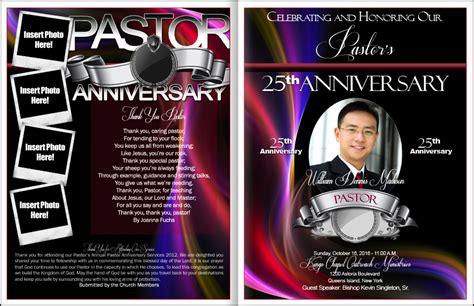pastor anniversary service program template graphic design