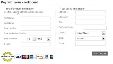 Credit Card Payment Template Uk authorize net