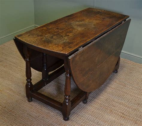 Large eighteenth century country oak antique drop leaf gate leg dining table 365542