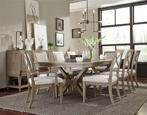 legacy dining room set bridgewater weathered oak trestle extendable dining room