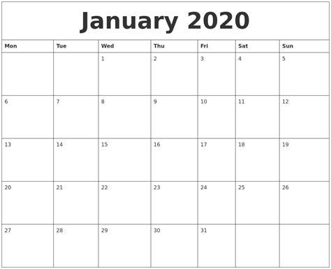 printable calendar 2014 monday start january 2020 blank calendar printable