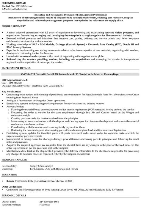 Sle Resume For Mis Executive In India Resume Format For Purchase Executive 28 Images Procurement Manager Cv Template Description