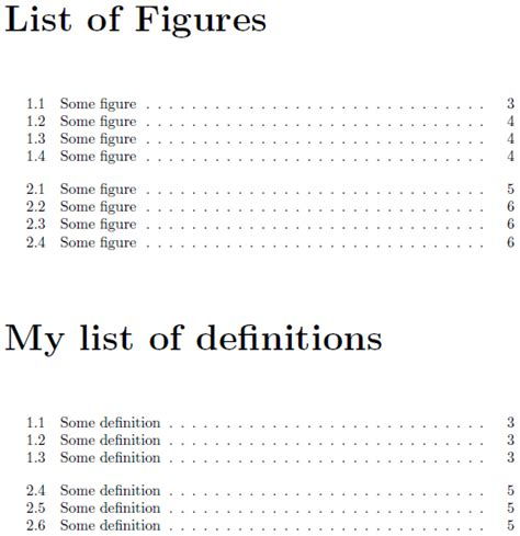 Definition Of Table Of Contents by Table Of Contents Formatting New List Of Definitions