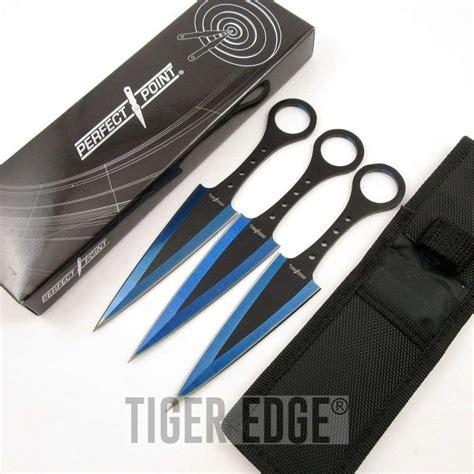throwing knife set 3 blue black arrowhead