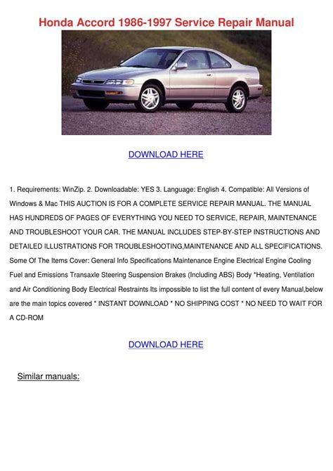 old car owners manuals 1997 honda accord user handbook service manual 1997 honda accord owners repair manual
