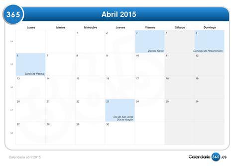 Calendario 2015 Semana Santa Calendario Abril 2015