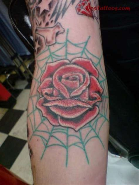 rose with spider web tattoo spider web and inner