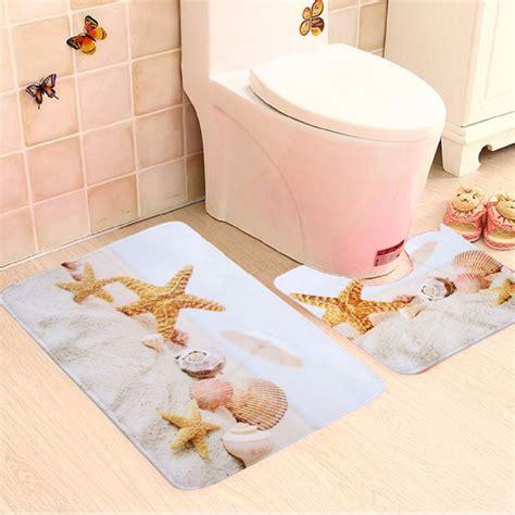 3 shells bathroom 2 piece bathroom star fish and beach shells bath mat