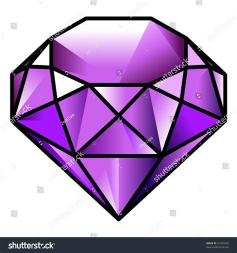 Gem Stone Purple Tourmaline Stock Vector 91422089