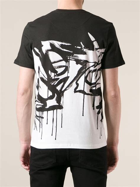 mcq printed t shirt in black for lyst