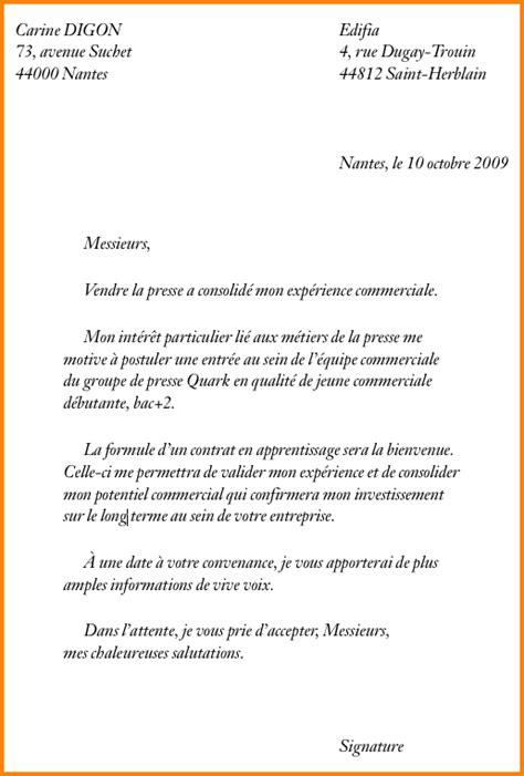 Exemple De Lettre De Motivation Demande D Apprentissage 11 Lettre De Motivation Pour Un Apprentissage Format Lettre