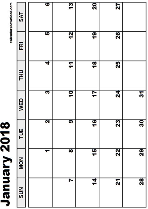 Calendar December 2017 January 2018 February 2018 January 2018 Calendar