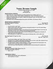 Nanny Resume Template by Nanny Resume Sle Writing Guide Resume Genius