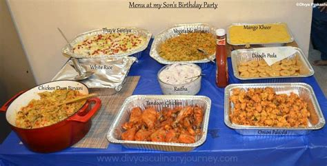 divya s culinary journey my son s birthday party menu