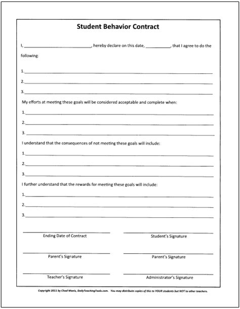 Classroom Behavior Management A Comprehensive Set Of Strategies Behavior Contract Template Elementary