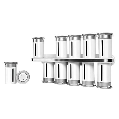 White Wall Mounted Spice Rack Zevro Zero Gravity 12 Canister Wall Mount Magnetic Spice
