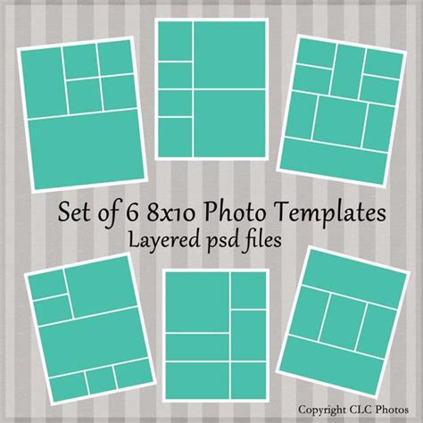 8x10 Marketing Photo Template Collage Story Board Layered Psd 8x10 Photoshop Template