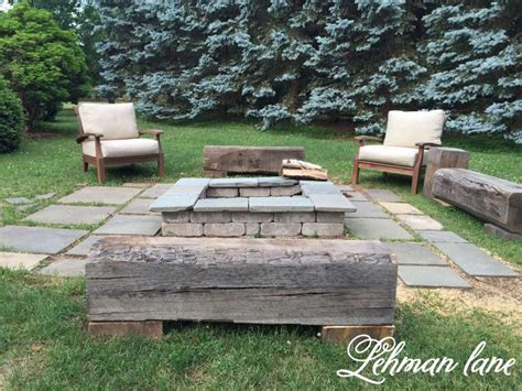 benches around fire pit stone patio diy fire pit wood beam benches lehman lane