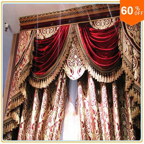 baroque curtains burgundy wine custom free shipping hotel curtains classic