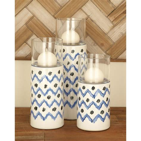 Ceramic Candle Holders by Blue Ceramic And Glass Candle Holders Set Of 3 67111