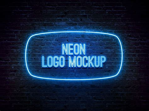 Neon Logo Mockup Psd Template Photoshop Mockups Neon Logo Psd Templates Mockup Neon Sign Photoshop Template