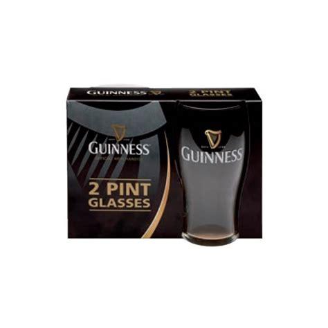 bicchieri guinness set 2 bicchieri vetro guinness logo classico dimensionegift