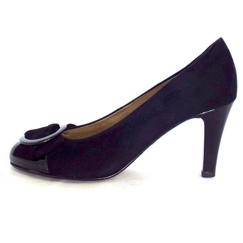 gabor shoes court shoe in black suede mozimo