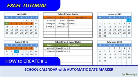 how to make a school calendar how to create excel school calendar with automatic date