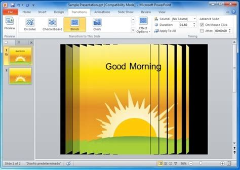 powerpoint tutorial transitions when to use the blinds transition effect in powerpoint