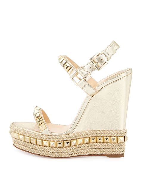 New 0204 1 Wedges Christian christian louboutin cataclou studded leather wedge