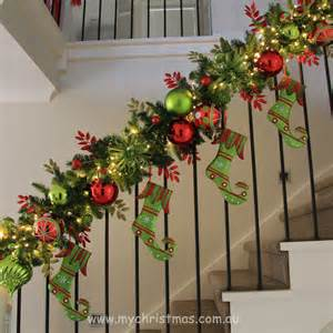 christmas garlands with lights for stairs happy holidays