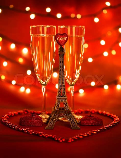 Total Home Decor Image Of Two Glass With Romantic Beverage Little Eiffel