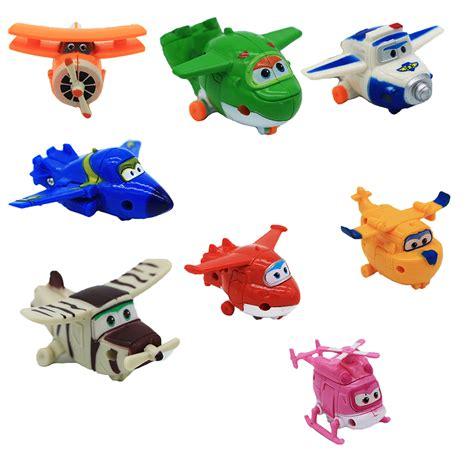 8 Pcs Mini Figure Set 8pcs set mini anime wings model mini planes transformation airplane robot