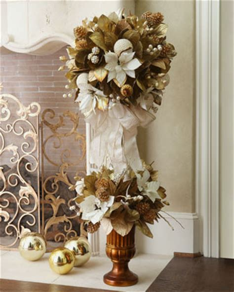 ivory gold christmas topiary traditional holiday
