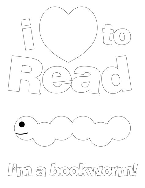 free coloring pages of i love to read