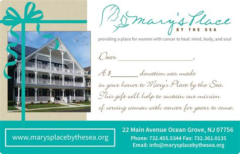 Places That Donate Gift Cards - mary s place by the sea donation