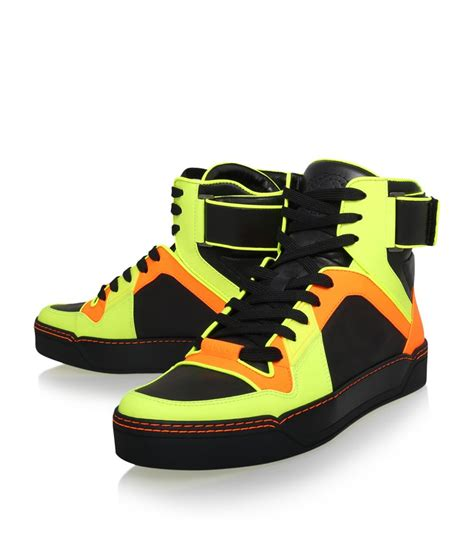 neon high top sneakers gucci basketball high top neon sneaker for lyst
